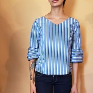 White House Black Market Blue White Stripe Top